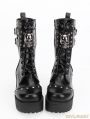 Black Gothic Punk Rock PU Leather Skull Boots