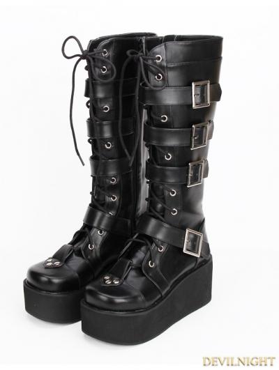 Black Gothic Punk PU Lace Up Belt Platform Knee Boots