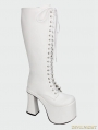 White Gothic PU Leather Lace Up High Heel Knee Boots