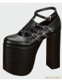 Black Gothic PU Leather High Heel Shoes