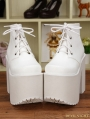 White Gothic PU Leather High Heel Lace Up Shoes
