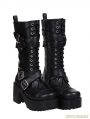 Black Gothic Punk Buckle Belt Lace-up PU Leather Chunky Heel Boots