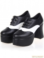 Black and White Gothic Punk PU Leather High Chunky Heel Shoes