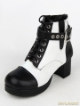 Black and White Gothic Punk PU Leather Buckle Belt Ankle Boots