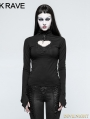 Black Gothic Basic Long Hollow-Out T-shirt for Women