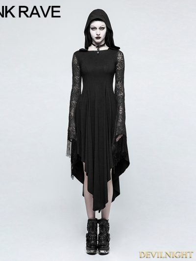Black Gothic Dress with Back Spider Net