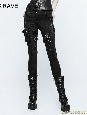 Black Gothic Punk belt Bag Jeans for Women