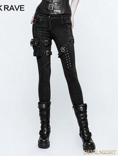 Black Gothic Punk belt Bag Jeans for Women