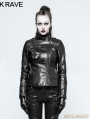 Black Gothic Punk PU Leather Short Jacket for Women