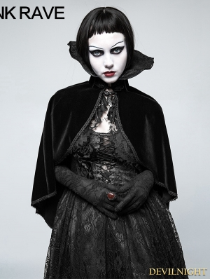 Black Gothic Positioning Necktie Cloak for Women