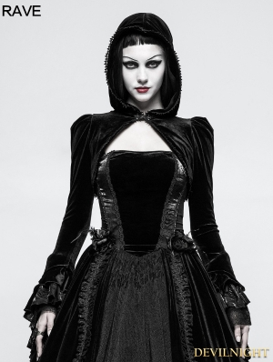 Black Gothic Velvet Short Jacket for Women