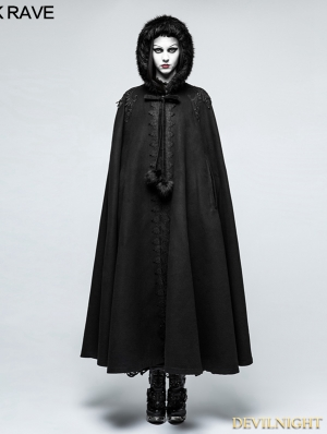Black Winter Gothic Long Fur Cloak for Women