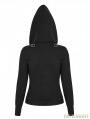 Black Gothic Punk Slim Sweater With Hood