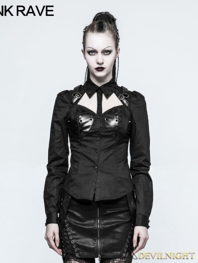 Black Gothic Punk Rivet Sexy Shirt for Women
