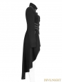 Black Gothic Military Uniform Worsted Long Coat for Women