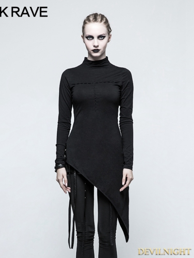 Black Gothic Spider Web Heart Hollow Out T-shirt for Women