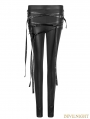 Black Gothic Punk Buckle Belt Skinny Leggings for Women