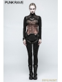 Black Gothic Tie Rope Thickened Leggings for Women