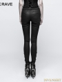 Black Gothic Disc Flowers Buttons Pants for Women