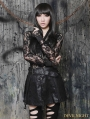 Black Gothic Sexy Semitransparent Lace Shirt for Women