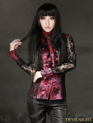 Black and Red Rose Pattern Gothic Long Lace Sleeves Blouse for women