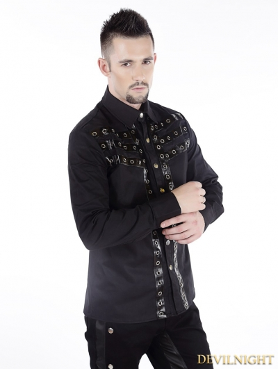 Black Gothic Punk Long Sleeves Blouse for Men