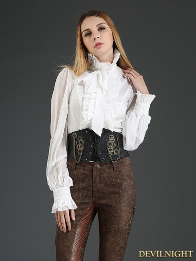 White Palace Style Chiffon Blouse for Women