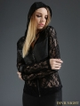 Black Gothic Hooded Semitransparent Lace Short Top for Women