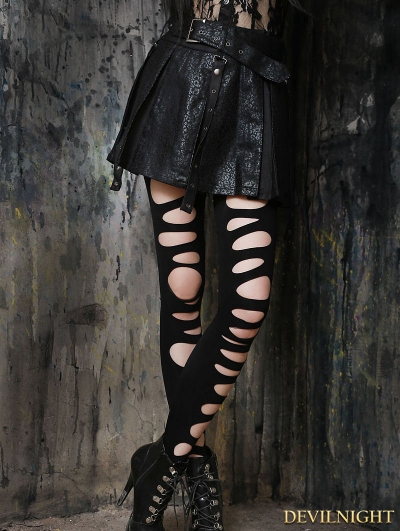 Black Gothic High-Waist PU Leather Short Skirt