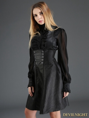 Black Gothic High-Waist Suspender Dress