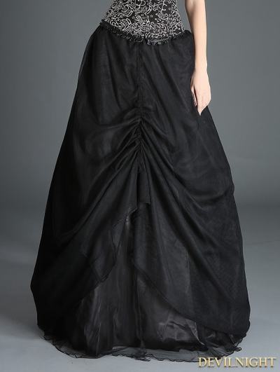 Black Organza Gothic Long Skirt