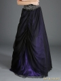 Black and Purple Organza Gothic Long Skirt