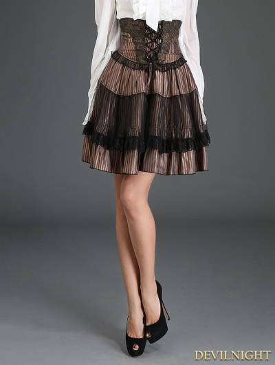 Coffee Stripe Steampunk High-Waist Short Skirt