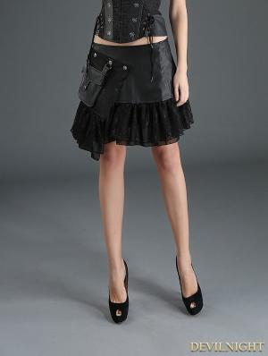 Black Steampunk Short PU Skirt with Pocket Bag
