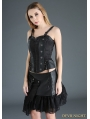 Black Steampunk Short PU Skirt with Pocket Bag