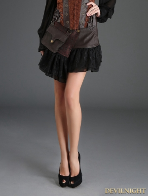 Coffee Steampunk Short PU Skirt with Pocket Bag