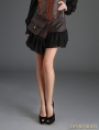 Coffee Steampunk Short PU Skirt with Pocket Bag
