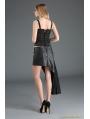 Black Gothic Punk Irregular PU Leather Lace Skirt