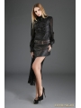 Black and Coffee Gothic Punk Irregular PU Leather Lace Skirt