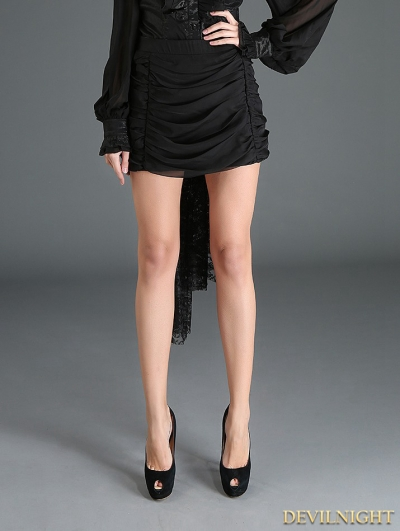 Black Gothic Pleated Short Skirt with Big Bow Back