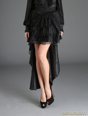 Black Gothic Irregular Lace Tailed Skirt
