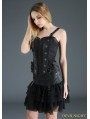 Black Gothic Punk Chiffon and PU Leather Short Skirt