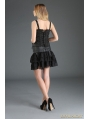 Black Gothic Punk Chiffon and PU Leather Short Skirt