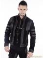 Black Gothic Punk Short Leather Jacket for Men