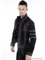 Black Gothic Punk Short Leather Jacket for Men