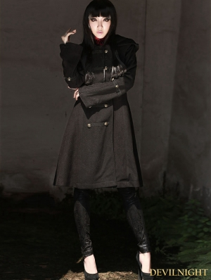 Black Gothic Hoodie Long Coat for Women