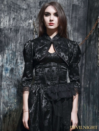 Black Gothic Chinese Style Bubble Sleeves Short Cape