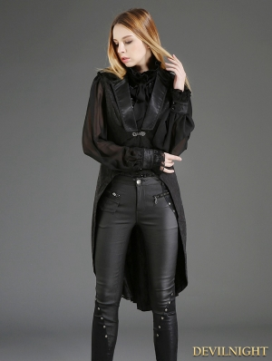 Black Gothic Swallow Tail Waistcoat for Women