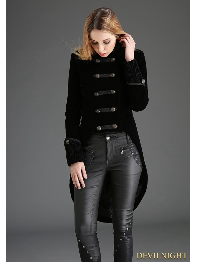 Black Swallow Tail Double-Breasted Gothic Coat for Women