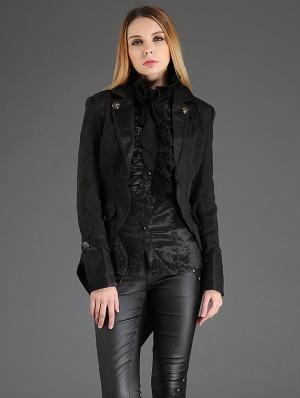 Black Vintage Gothic Dovetail Jacket for Women